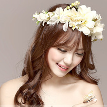 2017 New Women Rose Flower Headband Wreath Kids Party Floral Garlands Ribbon Adjustable Flower Crown Wedding Hair Accessories