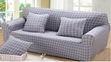 Spandex Stretch Gray Grid  Skid-proof Sofa Cover Big Elasticity 100% Polyester Sofa Furniture Cover