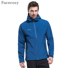 Facecozy Men Winter Hiking Jackets Fleece Waterproof Breathable Camping Trekking Softshell Solid Hooded Fishing Climbing Coat