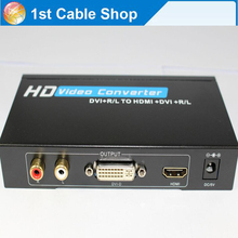 New arrival L/R Audio+DVI to HDMI DVI converter splitter+audio output  with power adapter