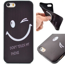 Hot Selling Cool Coque Fundas Black Soft TPU Case For iPhone 5S Cover smiling face Watch Kitty Star Butterfly Design phone cases