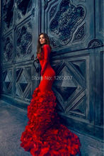 Fashion Boat Neck Long Sleeves Beautiful Flowers Ruffles Mermaid Long Red Evening Dresses Elegant Women Formal Gown