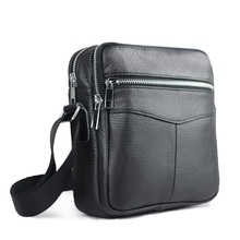 New High quality  genuine leather men bag small messenger bags  fashion brand design men's shoulder bag black