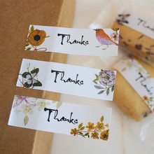 108PCS 1.7x5.5cm Flower Bird Thanks Sticker Cookie Cake Candy Bag Labels Creative Paper Seal Adhesive Decorative Custom Stickers