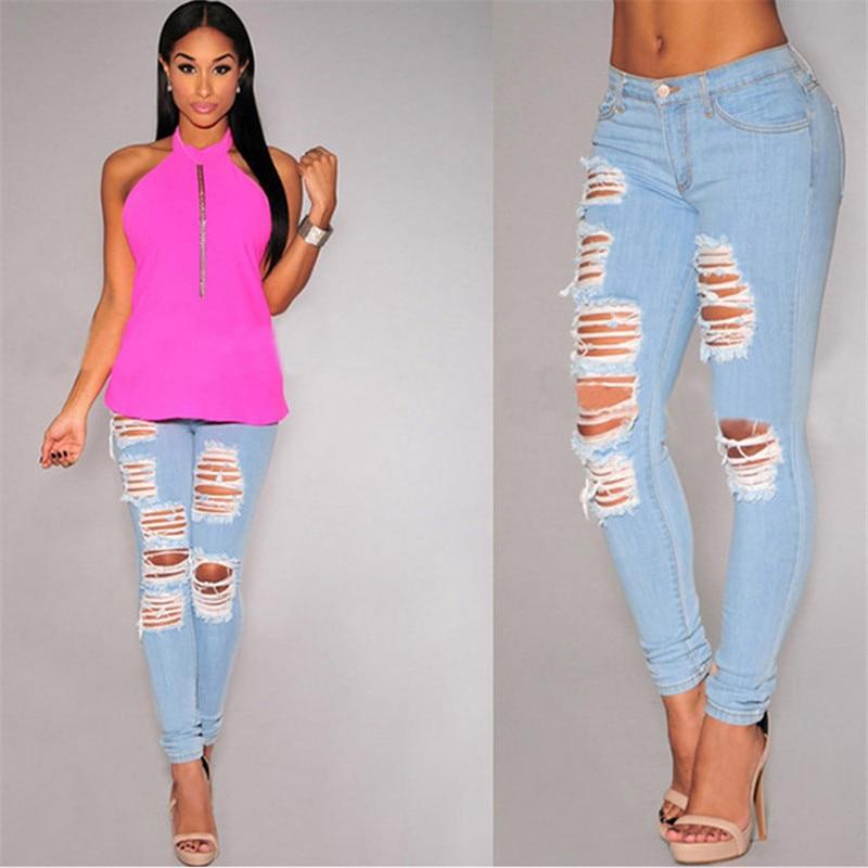 YONO New Fashion Women Jeans Frayed High Waist Hole Denim Pants Capris Pencil Pants Stretch VintageTrousers Pantalon Femme HotОдежда и ак�е��уары<br><br><br>Aliexpress