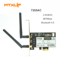 WTXUP Wireless-AC 7265 802.11ac 867Mbps + 300Mbps PCI Express Desktop WiFi Adapter Bluetooth 4.0 for Intel 7265AC PC wifi  Card