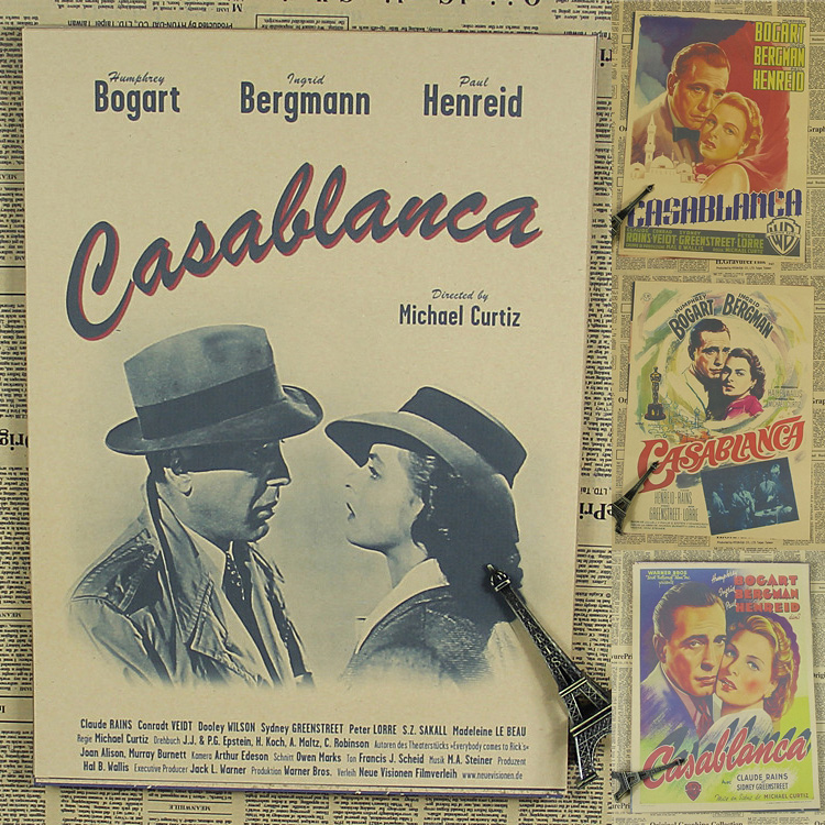 Casablanca movie poster old Hollywood classic love bar theater Cafe decorative painting retro poster 30x21cm