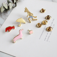 5pcs/lot Cartoon Fox Umbrella costume jewellery bag jean hat accessories metal enamel plant cactu pin collar brooch button badge