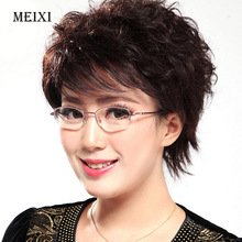 Women's Half Metal Frame Lenses Reading Glasses Femal Eyewear +0.5 +0.75 +1.0 +1.5 +2.0 +2.5 +3.0 +3.5 +4.0(China)