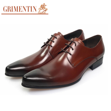 GRIMENTIN Italian Fashion formal mens dress shoes genuine leather brown wedding male shoes 2017(China)