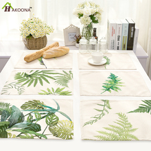 HAKOONA 4 Pieces Placemats Ink Painting Green Leaves Table Napkins Cotton Linen Fabric Table Decoration Tea Towels 42*32cm