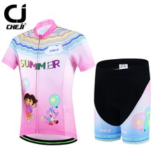 2017 CHEJI Kids Cycling Jersey Set Ropa Ciclismo Boy Girl Bike Short Sleeve Clothing Childen Bicycle Wear Suit S-XXL Pink