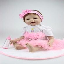 22 inch 55 cm hot sale solid silicone reborn baby dolls Pink dress smiling face baby birthday gift(China)
