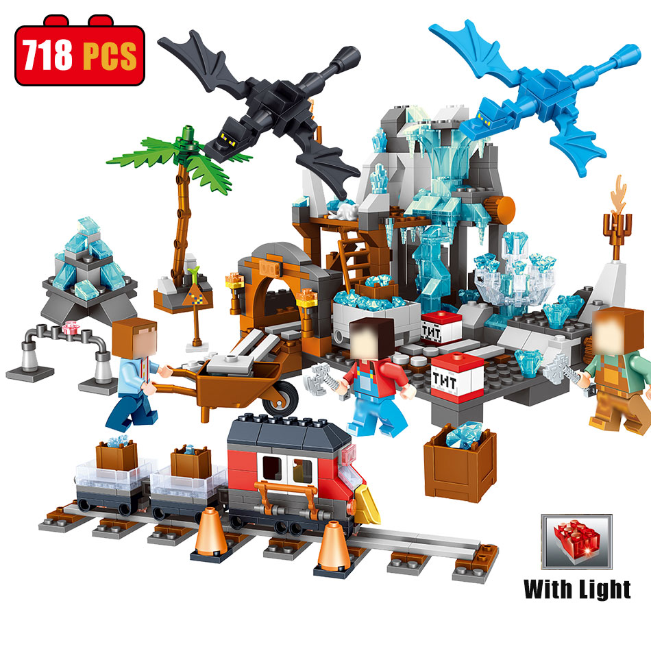 Qunlong 718pcs Mine World classic building blocks set compatible legoes minecrafed education bricks toys for children Christmas<br>