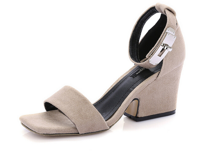 Free Shipping Large size Woman shoes Summer 2017 European and American fashion frosted square head open-toed sandals 35-43 black<br><br>Aliexpress