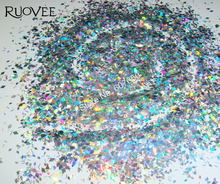 30g Holographic Laser Silver Solvent Resistant Diamond Paillette Spangles Shapes Mixed Glitter for GEL Polish Nail Art