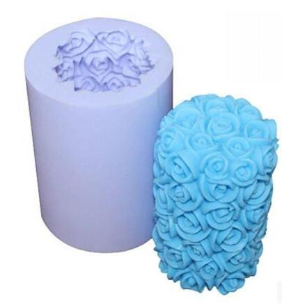 3D Rose Flower Cylinder Candle Mold Soap Mould Flexible Silicone Handmade Mold(China)