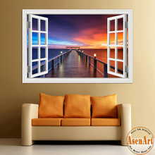 3D Window View Wall Decal Sticker Home Decor Living Room Wood Bridge Seaside Sunset Beautiful Scenery Wallpaper Murals Art PVC