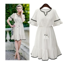 Short Sleeve White Elegant Dress Femme Summer Autumn Wear Ethnic Lace Embroidery Elastic Waisted Rope Collar Design Casual Dress
