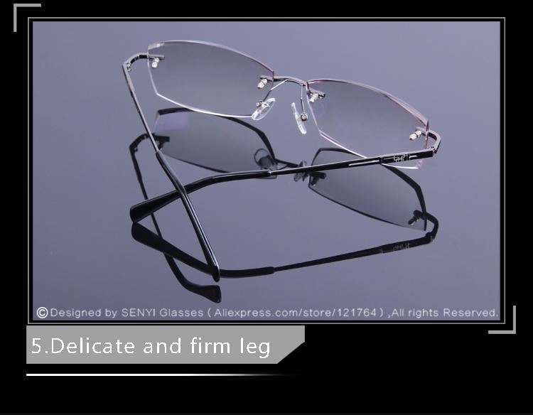 850f0e2e16 2019 Business Style Men s Rimless Eyeglasses Diamond Cutting Reading ...