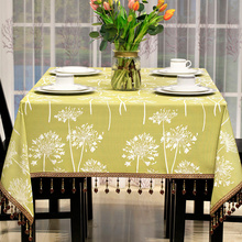 Jacquard Table Cloth Tablecloth Luxury Tassel Edge All Match Table Cover Manteles para mesa Bloom Car-covers Tafelkleed Nappe(China)
