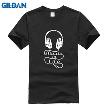 Replica Breathable Cotton Simple Gildan 2017 Summer Tshirt Your Music T-Shirt Homme T Music Is Life Headphones T Shirt(China)