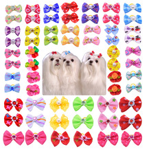 Hot Sales 100pcs Dog bows Cute Rhinestone Pearls Flowers pet dog hair bows dog hair accessories Pet grooming products Cute Gift(China)