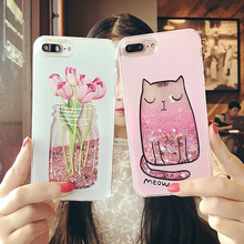Buy Cartoon Cat Flower Perfume Bottle Quicksand Dynamic Liquid Glitter Phone Case iPhone 6 6s Plus Cases Iphone 7 plus Case for $2.79 in AliExpress store
