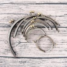 1pc delicate DIY Antique Brass Metal Purse Frame ring kiss clasp Handle for Bag Craft bag making Wallet Clip 7Sizes(China)