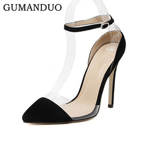 GUMANDUO Women Suede Leather Pointy Toe Ankle Strap High-Heeled Pumps shoes Stilettos Heels Buckle Shoes 11cm Black Size 9
