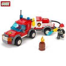 GUDI Fire Truck Blocks Children Educational Assembled Model Building Kits Blocks Toy Boy Kid Best Christmas Gift Brinquedos 9208(China)