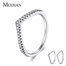 Buy Modian 3 Style Real 925 Sterling Silver Stackable Simple Ring Clear CZ Fashion Wedding Jewelry Women Engagement Gift Rings for $3.98 in AliExpress store