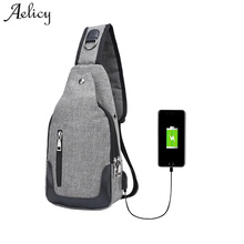 Aelicy 2017 New Casual Men's Canvas Solid Multi Pockets Messenger Shoulder Back Leisure Waterproof Sling Chest pack Bag 1013(China)