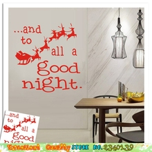 To All A Good Night Reindeer Wall Sticker DIY Home Christmas Decoration Bedroom Xmas Mural Art Elk Deer Sled Decal Wall Stickers(China)
