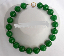 Jewelr 003193 stunning big 20mm round green crude beads necklace(China)