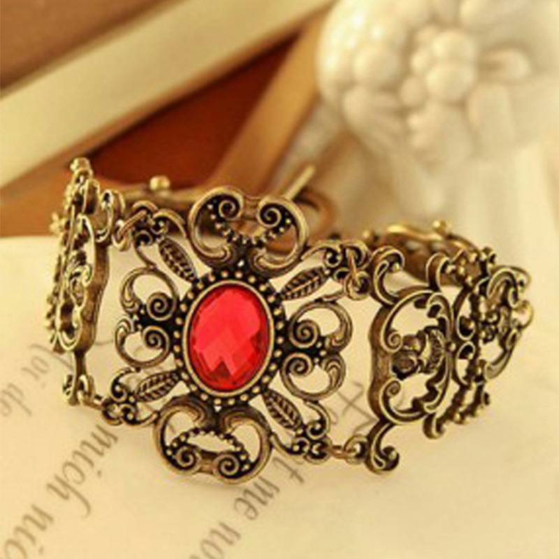 Vintage Red Crystal Bracelets For Women Hollow Metal Flower Rhinestones Stone Charm Cuff Bangle Chain Gold Wristbands Jewelry(China)