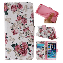 Flower Faux Leather Case Cover for iPhone 6 6S Plus Samsung Galaxy S6 S7 Plus