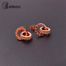 Bamos Vintage Fashion Rose Gold Stud Earrings for Women White AAA Zircon Titanium Steel Ear Studs Wedding Earrings Gifts SMT1268(China)