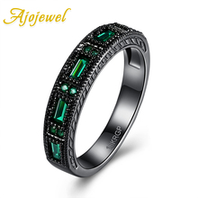 Ajojewel Simple Style Geometric Women Rings With CZ Black Gun Plated Green Ring For Party Size 6 7 8
