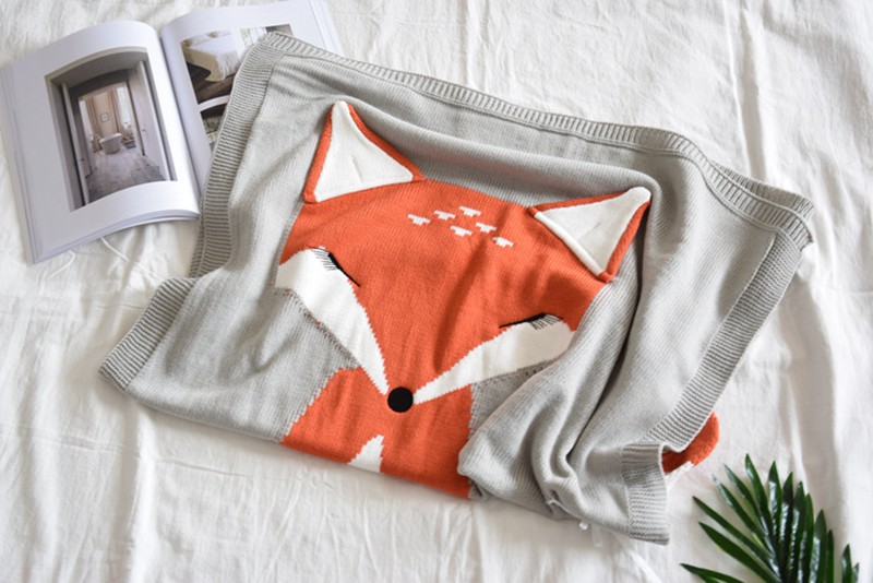 MOTOHOOD Fox Ear Baby Blankets Newborn Muslin Swaddle Knitted Blankets Swaddle Wrap Cute Infant Baby Quilt Stuff For Newborn (9)