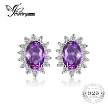 Jewelrypalace Oval 1.5ct Princess Diana William Kate Middleton's Created Alexandrite Sapphire Stud Earrings 925 Sterling Silver(China)