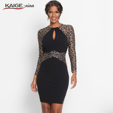 KaigeNina New Fashion Hot Sale Women solid sexy &club Printing Cloth O- Neck Mid-Calf lace knitting cotton Dress 18008