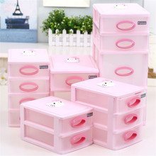 Cute Vogue Multi-Function Pink Table Cosmetic Organizer Case Holder Table Desktop Storage Basket Box with Drawer for Home Office