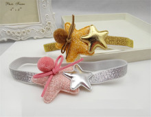 1 PC Kids Headband Gold&Pink Hairband Star Shaped PU Solid Lovely Girls Hair Accessories For BB Kids Cute Head Band