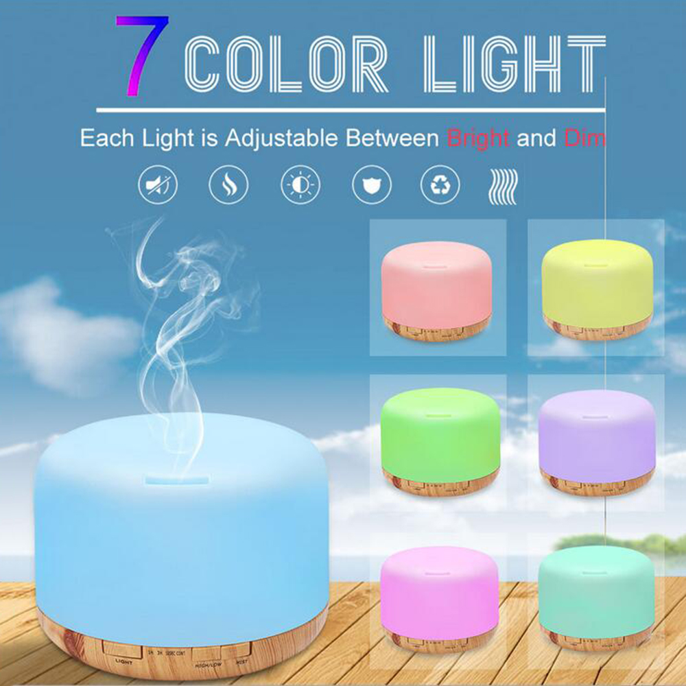 GRTCO 500ml Ultrasonic Air Humidifier Led Light Wood Grain Essential Oil Diffuser Aromatherapy Mist Maker 24V Remote Control<br>