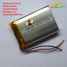 Liter energy battery 3.7V lithium polymer battery 103450 2000mAh speaker MP3 GPS navigator small pudding bag mail
