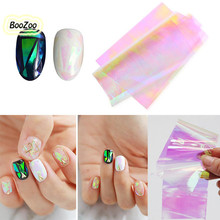 BlueZoo 1pcs/pack Beauty Glass Cullet Nail Sticker Aurora Sticker Foil Shiny Irregular Specular Aluminum Foil Paper Decoration(China)