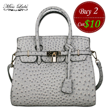 MISS LULU Designer Leather Padlock Handbag Ladies Boston Ostrich Leather Tote Women Satchel Shoulder Cross-body Bag YD1413T