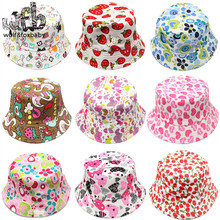 Retail 2-6years sunbonnet sun hats printing Fisherman caps baby children kids spring summer fall