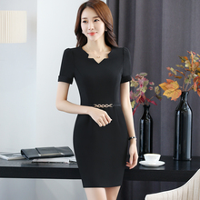 Women Summer Short Sleeve Fashion Black Slim Fit Formal OL Styles Dress For Ladies Office Female Casual Vestidos Tops Dresses(China)
